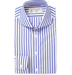 Turnbull & Asser Blue Slim-Fit Cutaway-Collar Striped Cotton Shirt