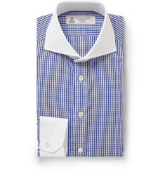 Turnbull & Asser Blue Slim-Fit Cutaway-Collar Gingham Check Cotton Shirt