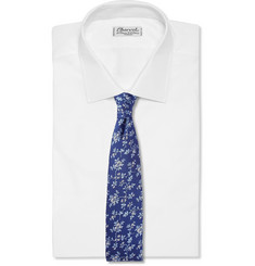 Turnbull & Asser Flower-Patterned Woven-Silk Tie