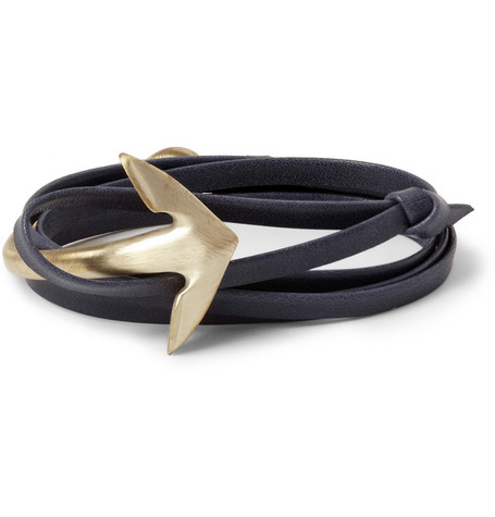 Miansai Half-Cuff Metal and Leather Wrap Bracelet
