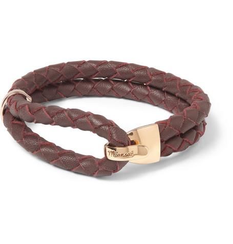 Miansai Beacon Woven-Leather and Metal Bracelet