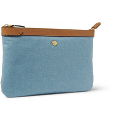 Mismo Leather-Trimmed Cotton-Canvas Pouch