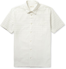 Folk Stitched-Stripe Cotton Shirt