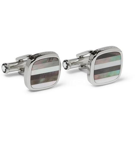 montblanc male montblanc motherofpearl tbar cufflinks silver