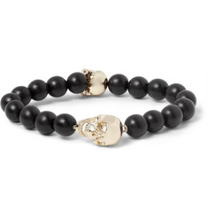 Luis Morais Gold-Plated and Ebony Bead Bracelet