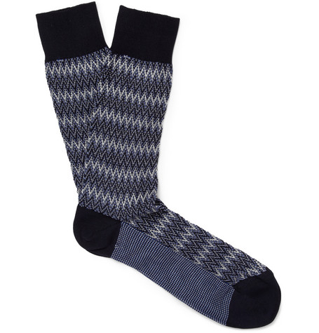 Missoni Zigzag-Knit Cotton-Blend Socks