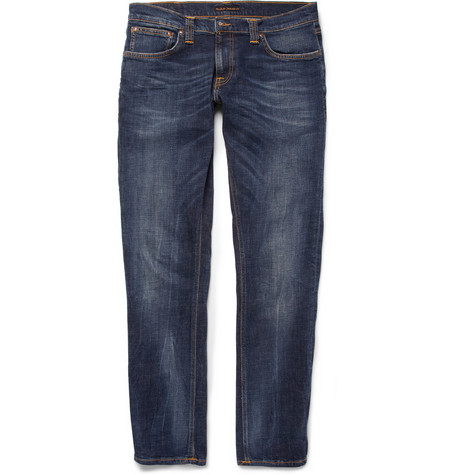 Nudie Jeans Tight Long John Slim-Fit Washed-Denim Jeans