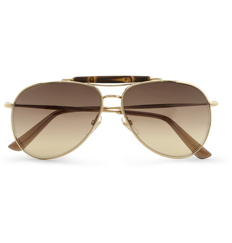 Gucci Bamboo and Metal Aviator Sunglasses