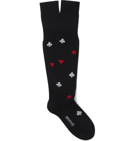 Bresciani Patterned Knee-Length Cotton-Blend Socks