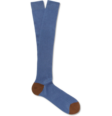 Bresciani Ribbed Knee-Length Fine-Cotton Socks