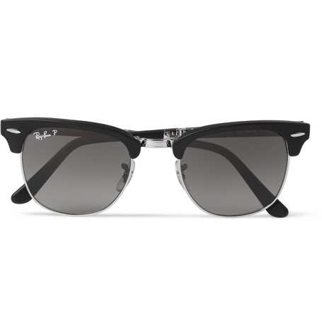 Ray-Ban Clubmaster Folding Acetate and Metal Polarised Sunglasses