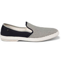 Rivieras Rubber-Soled Woven Slip-On Shoes