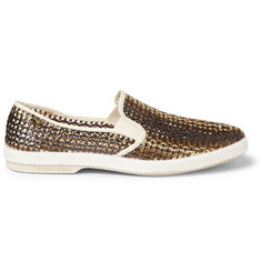 Rivieras Woven Metallic Slip-On Shoes
