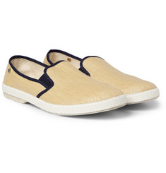 Rivieras Rubber-Soled Raffia Slip-On Shoes