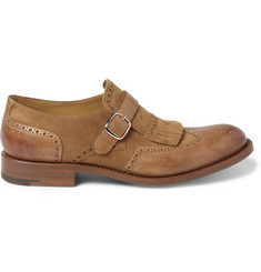 O'Keeffe Algy Tasselled Leather and Suede Monk-Strap Brogues
