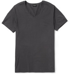 Hanro Cotton-Blend V-Neck T-Shirt