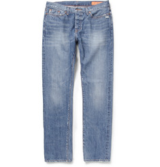 Jean Shop Slim-Fit Distressed Washed-Denim Jeans
