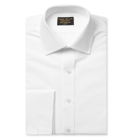 White Double-cuff Cotton Shirt - White