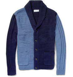 Ovadia & Sons Patterned Knitted-Cotton Shawl-Collar Cardigan