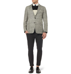 Ovadia & Sons Crosby Herringbone-Woven Silk Blazer