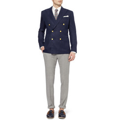 Ovadia & Sons Slim-Fit Woven-Wool Double-Breasted Blazer