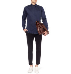 Tim Coppens Slim-Fit Mesh-Panelled Cotton Shirt