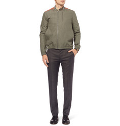 Tim Coppens Textured Cotton-Blend and Leather Bomber Jacket