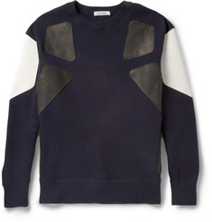 Tim Coppens Leather-Trimmed Loopback Cotton-Jersey Sweatshirt