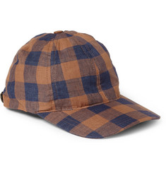 A.P.C. Leather-Trimmed Check Linen Baseball Cap