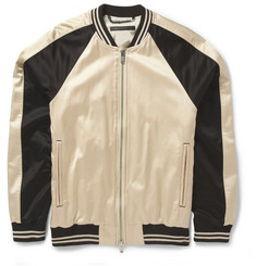 Marc by Marc Jacobs Panelled Cotton-Blend Satin Bomber Jacket