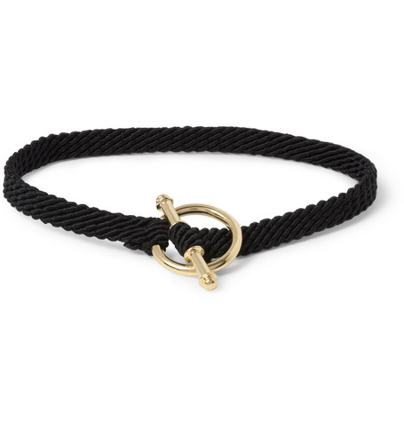 Yuvi 14-Karat Yellow Gold and Woven Cord Bracelet
