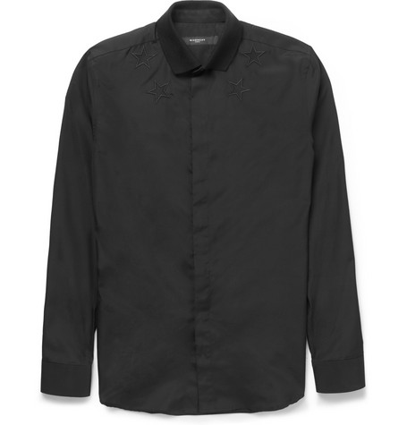 Givenchy Embroidered-Star Contrast Jersey Shirt