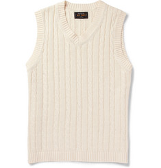 Beams Plus Cable-Knit Linen and Cotton-Blend Sleeveless Sweater