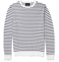 Beams Plus Striped Knitted-Cotton Sweater