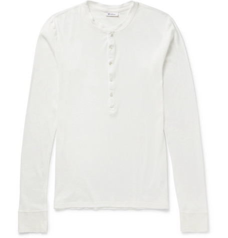 Schiesser Ribbed Cotton-Jersey Henley T-Shirt