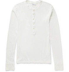 Schiesser - Ribbed Cotton-Jersey Henley T-Shirt