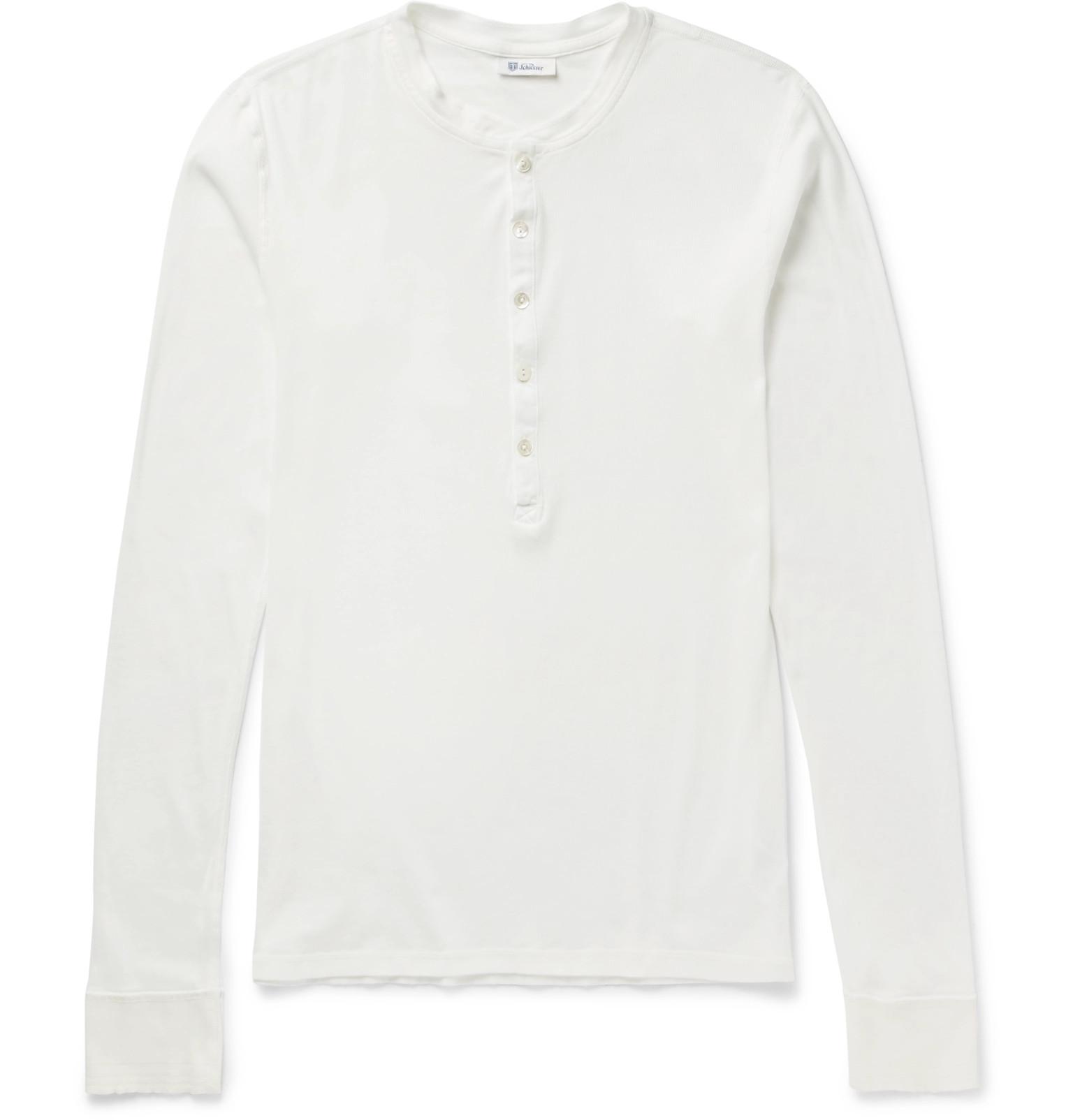 308f739842 Schiesser Slim-Fit Ribbed Cotton-Jersey Henley T-Shirt