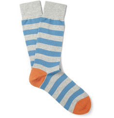 Beams Plus Striped Cotton-Blend Socks