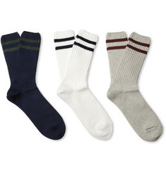 Beams Plus Three-Pack Knitted Cotton-Blend Socks