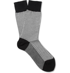 Beams Plus Houndstooth Check Cotton-Blend Socks