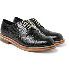 London Collections. Men Matthew Miller x Grenson Crocodile-Embossed Leather Derby Shoes