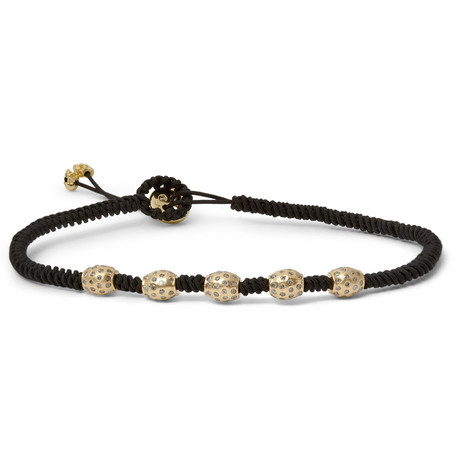 Luis Morais Gold, Diamond and Macramé Bracelet