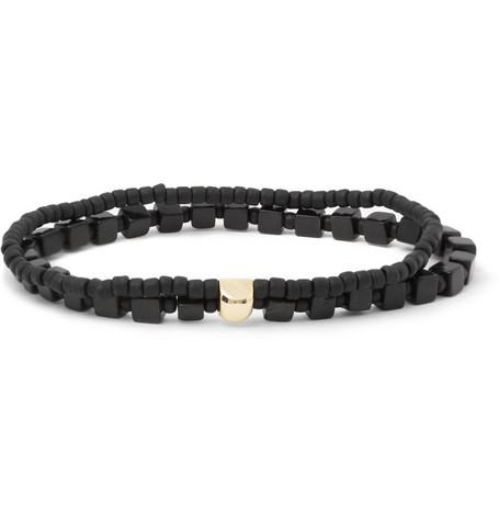 Luis Morais Gold, Onyx and Glass Bead Bracelet