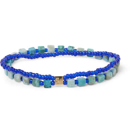Luis Morais Gold, Turquoise and Glass Bead Bracelet