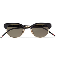 Thom Browne Gold-Trimmed Square-Frame Sunglasses