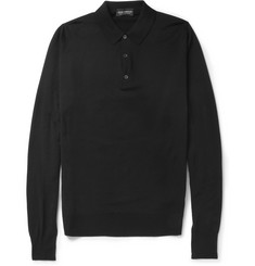 John Smedley Cotswold Long-Sleeved Merino Wool Polo Shirt