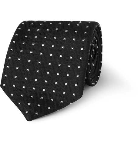 Marwood Cross-Patterned Woven-Silk Tie