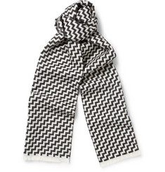 Marwood Zig-Zag-Patterned Wool and Cotton-Blend Scarf