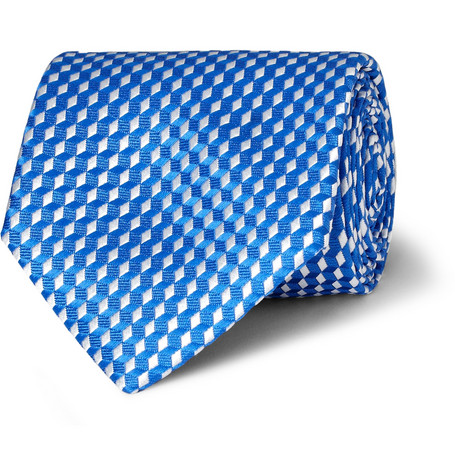 Charvet Micro Diamond-Patterned Woven Silk Tie