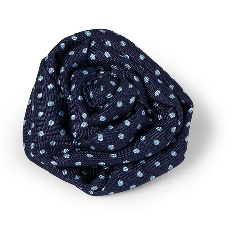 Charvet Printed Silk Lapel Flower